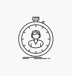 Fast speed stopwatch timer girl line icon isolated vector