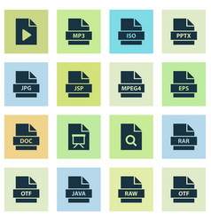 File icons set with jsp organize otf and other vector