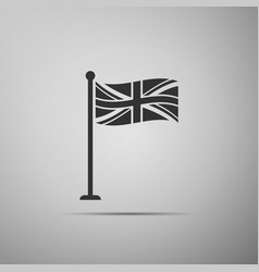 flag of great britain on flagpole icon isolated vector image