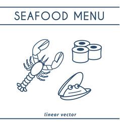 fresh seafood icons set vector image