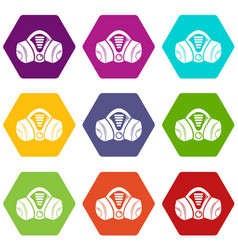 gas mask icons set 9 vector image