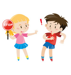 girl holding stop sign vector image