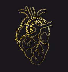 Gold human heart with i love you text vector