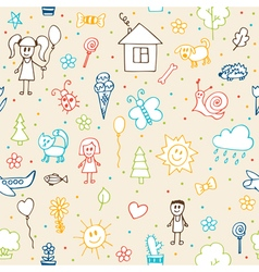 Hand drawn children drawings seamless pattern vector image