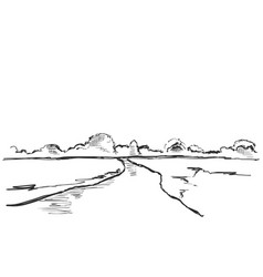 hand drawn fields sketch vector image