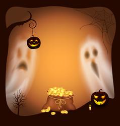 Happy halloween pumpkin with light lantern vector