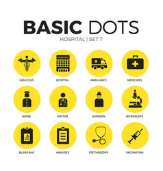 hospital flat icons set vector image