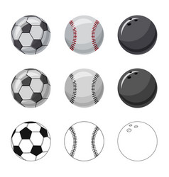 isolated object of sport and ball logo set of vector image