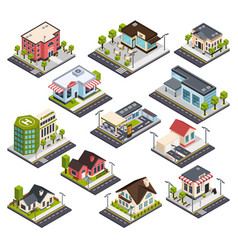 isometric city buildings set vector image
