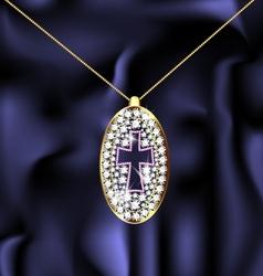 jewel pendant with cross vector image vector image