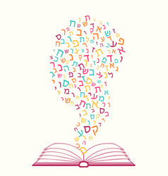 Jewish education torah reading all letters of vector