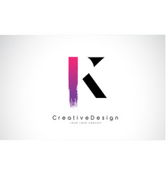 k letter logo design with creative pink purple vector image