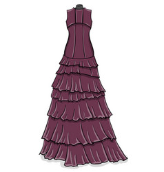 lilac long evening dress with frills on a white vector image