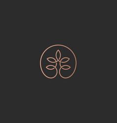 Linear tree flower logotype universal premium vector
