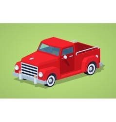 Low poly red retro pickup vector