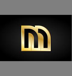 M gold golden letter logo icon design vector