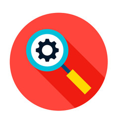 magnifying glass gear circle icon vector image