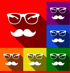 mustache and glasses sign set of icons vector image