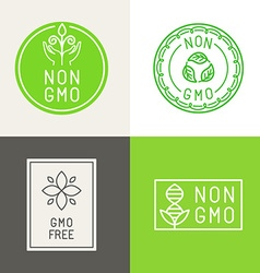 Non gmo natural ingridients labels and emblems vector