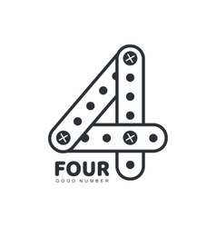 Number four logo template made of straight and vector