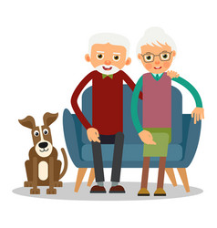 On the sofa sit elderly woman man and dog vector