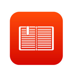 Open book with a bookmark icon digital red vector