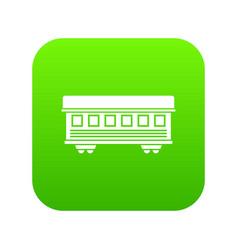 passenger train car icon digital green vector image