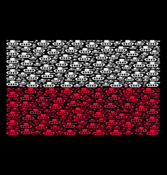 poland flag mosaic of military tank items vector image