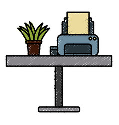 printer and plant on desk vector image