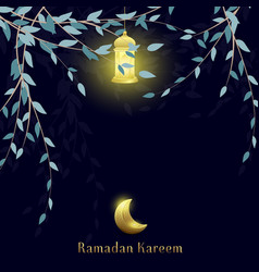 Ramadan kareem with moon and lantern background vector