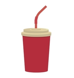 red cup and straw graphic vector image