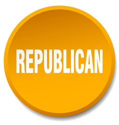 Republican orange round flat isolated push button vector