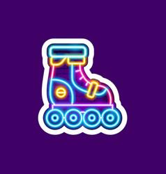 roller skates neon sticker vector image