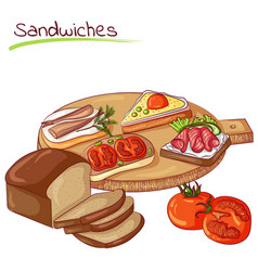 Sandwiches and bread vector