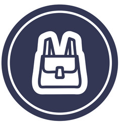 School satchel circular icon vector