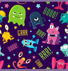 seamless color children pattern with cute monsters vector image