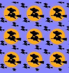 seamless pattern for halloween with witches flying vector image
