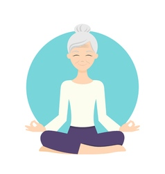 senior woman practicing yoga exercises Healthy vector image