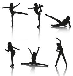 Set aerobic silhouettes vector