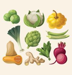 Set exotic vegetables vector