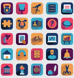 Set flat education icons for design vector