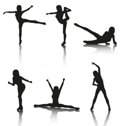 Set of Aerobic Silhouettes vector
