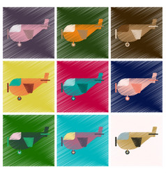Set of flat icons in shading style airplane with vector