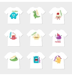 Set of nine t-shirts with cartoon cute monsters vector