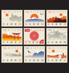 set old postage stamps with japanese landscapes vector image