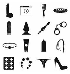 Sex shop icons set simple style vector image