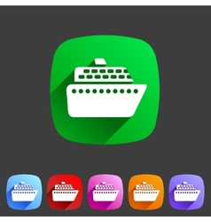 Ship ferry boat flat icon badge set vector
