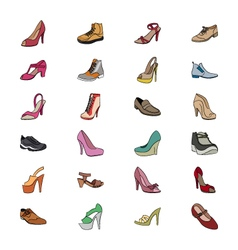 Shoes Hand Drawn Colored Icons 1 vector image