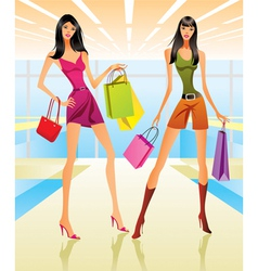Shopping girls in the mall vector image vector image