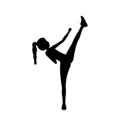 Silhouette woman martial arts high kick vector